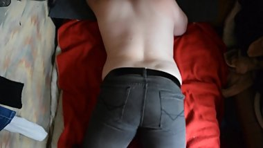 Humping bed in jeans + Jerk off