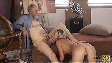 OLD4K. Handsome old dad satisfies winsome mistress in various ways