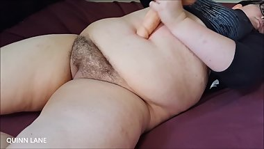 Creampie My Bellybutton!  Fucking my fat belly with a big dildo + cumshot