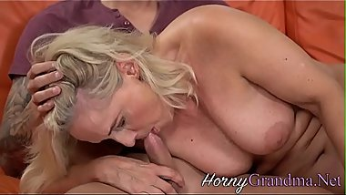 Blonde gilf mouth spunked