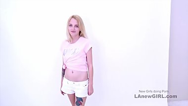 Sexy 20yo blonde fucks at modeling audition
