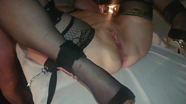 My cock and vibrator on wifes body. She like it.