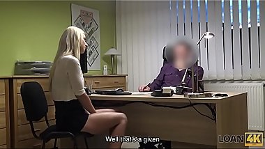 LOAN4K. Agent drills mouth, pussy, and asshole of blonde in office