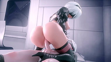 Nier: Automata 3D Hentai 2B Fucking 9S In Cowgirl Position