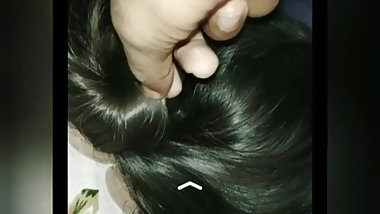 Touching & trying to open this Indian silky hairbun