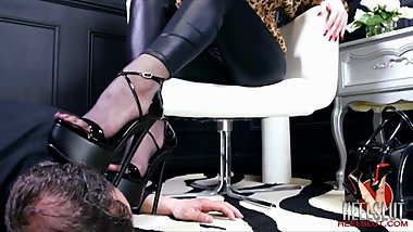 Mistress walking in cummy shoes