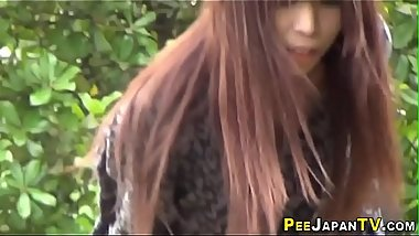 Japanese worker babe pees pants