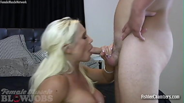 Blonde Female Muscle Porn Star Sucks Cock