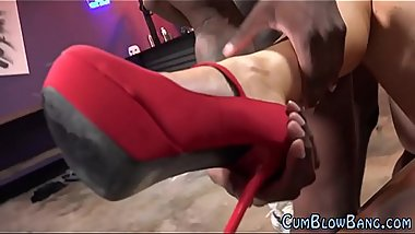 Gangbanged slut tongued