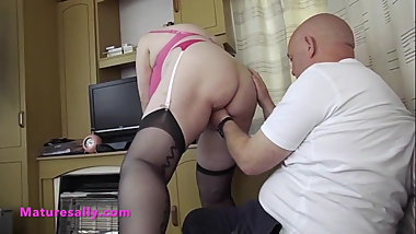 Bald guy has a thing for an old womans stockings