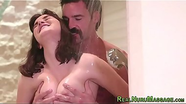 Wet and messy angelic masseuse mouth spermed