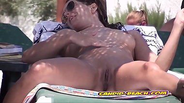 WIde Spread Pussy Nudist AMateur Ladies Beach Voyeur SpyCam
