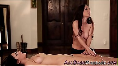 Massaged brunette scissor