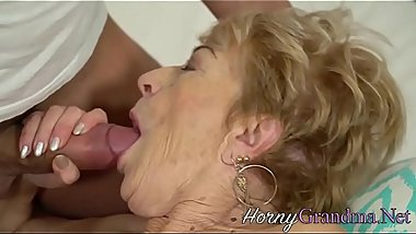 Railed grandma cum dumped