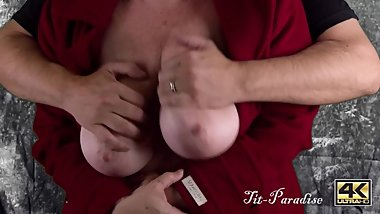 Big Natural Boobs Groped, Fondled, Oiled, & Nipple Play - Green Screen Fun