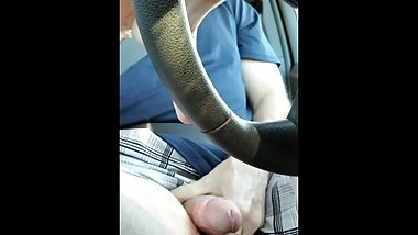 Jerking Off in Car while driving with Cumshot