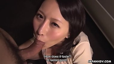 Buxom Japanese babe Yuna Hoshizaki swallows a raging fuck stick