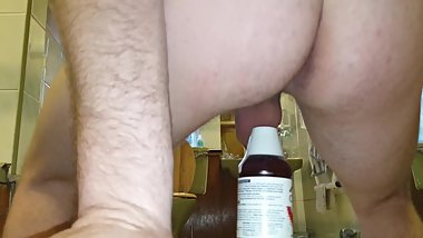 Young Teen Boy Stretches Asshole With Madsive Mouthwash Bottle - MattThom98
