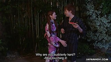 Engsub Kana Suzuki in kimono sucks cock outdoors FullHD 1080 at https://za.gl/R9E3