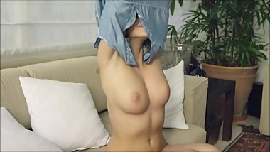 Beautiful Young Girl with Puffy Tits enjoying watching herself II Watching