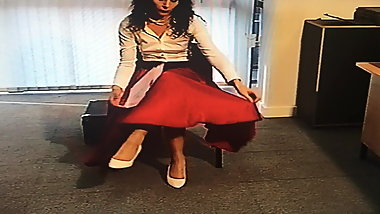 Office Girl in Satin Skirt 3