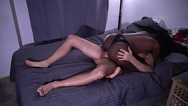 Ebonyfleur riding white cock - passionate interracial real Sex - full hd