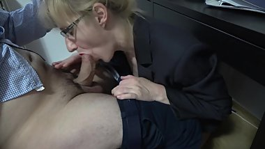 Blonde secretary suck my dick under desk & eat my cum