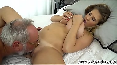Teen jugs jizzed by gramp