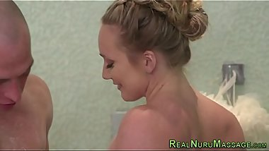 Wet and messy masseuses face jizz soaked