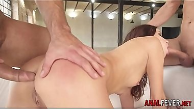 Anal whore gobbles cocks