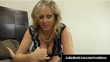 Cock Craving Cougar Julia Ann Gives Lucky Cock Handjob &amp_ BJ!