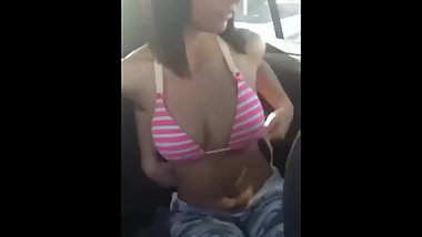 Girl showing her pussy and boobs in car