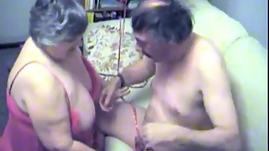 Old fat slut on Valentine's Day fucks mustache grandpa