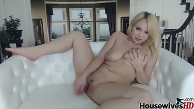 Hot Big Tits Blonde plays with a toy