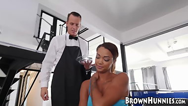 Stunning beauty Harley Dean fucked by slick buttler