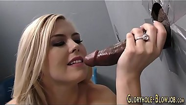 Babe gulps glory hole cum