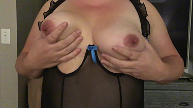 Wife playing with her nipples